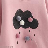 冬季女童冬装卫衣 新款冬季韩版儿童童装白云抓绒卫衣秋冬新款