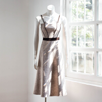 木木天空冬季新款复古吊带抹胸连衣裙仿鹿皮绒撞色礼服裙中长裙女