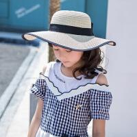 儿童草帽女夏海边沙滩帽子夏季遮阳女童小孩大檐中大童太阳帽
