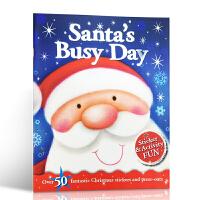 【全店300减100】英文原版 Christmas Fun: Santa's Christmas (Sticker an