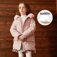 【大牌日3件2折:339】巴拉巴拉旗下巴帝巴帝2019年冬甜美格纹儿童羽绒服女童中长款外套外套