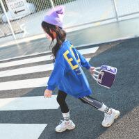 女童卫衣2018新款韩版秋装男女童宽松中长款上衣中大儿童洋气卫衣