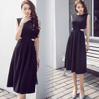 2018夏季新款韩版小香风赫本女人味小黑裙显瘦中长款遮小腿连衣裙