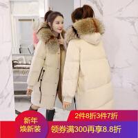 中长款连帽棉衣女2018冬季韩版显瘦时尚百搭羽绒棉面包服外套