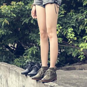 玛菲玛图学院风chic短靴女春秋单靴系带个性皮带扣中跟女靴2018新款马丁靴1788-5