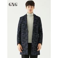 GXG大衣男装 冬季青年男士时尚花色长款羊毛毛呢大衣外套