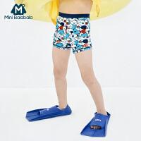【99元任�x3件:33元】迷你巴拉巴拉�和�男泳�b短�����泳衣夏季新款撞色�和�泳�