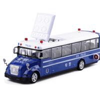 合金车1:55特警车巴士110玩具车汽车模型古诗儿歌儿童玩具汽车 蓝色 盒装警车