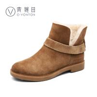 【清仓】青婉田新款冬季加绒保暖短筒雪地靴羊皮毛一体真皮平底短靴女冬靴
