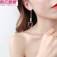 韩国一款两戴链条串珠耳环女长款吊坠爱心桃心耳钉百搭耳坠耳饰品