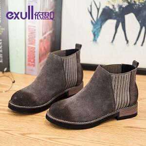 Exull依思Q马丁靴反绒皮粗跟裸靴中跟短靴拼接女靴
