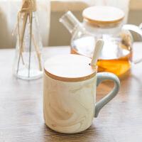 创意杯子陶瓷大容量马克杯带盖勺ins简约随手杯办公室水杯咖啡杯 混色陶瓷马克杯+盖子 -送拌勺