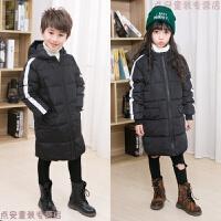 新款儿童羽绒服男童女童宝宝小孩中长款连帽秋冬加厚外套