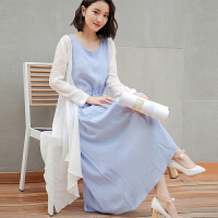 棉麻连衣裙中长款夏季2017女装新韩版修身显瘦亚麻无袖两件套裙