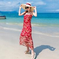 维绯夏新款雪纺度假沙滩裙仿真丝连衣裙女宽松中长款无袖吊带裙 酒红色
