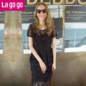 Lagogo2017新款蕾丝镂空连衣裙女夏季黑色显瘦高腰裙子中长款
