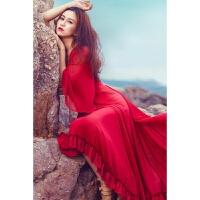 20180822191142095夏季新款文艺复古V领气质雪纺连衣裙度假沙滩波西米亚长裙 红色