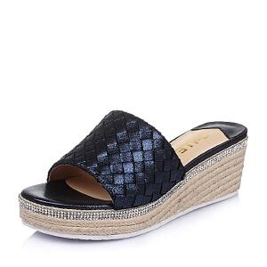 Belle/百丽夏季专柜同款贴膜编织人造革女鞋BFUA9BT6 拖鞋女