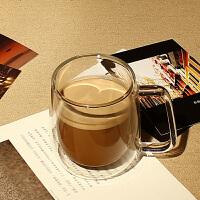 双层耐热透明玻璃杯隔热带把手带盖咖啡杯马克杯茶杯家用办公桌水杯