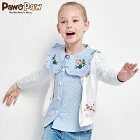 【3件3折 到手价:119】Pawinpaw卡通小熊童装春女童多色碎花蝴蝶结中小童针织开衫