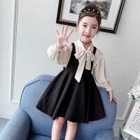 童装2020春秋季新款女童领结衬衫背带裙套装儿童女孩两件套套装