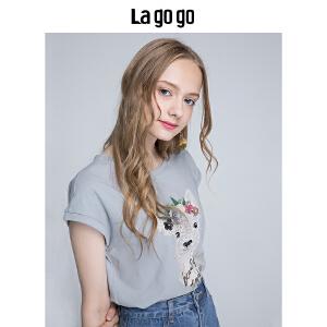 Lagogo/拉谷谷2018年夏季新款时尚圆领胶印图案装饰T恤HATT315F04