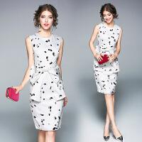 夏季新款时尚蝴蝶结黑白印花连衣裙无袖修身中裙气质女装裙子
