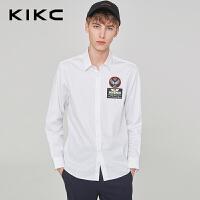 kikc长袖衬衫男2018秋季新款韩版纯棉休闲时尚青少年印花衬衣男潮