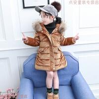 女童金丝绒棉衣2019新款韩版儿童中长款加厚女孩冬装宝宝棉袄