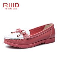 RIIID舒适女鞋夏季新款真皮平跟休闲单鞋圆头蝴蝶结正品