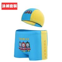 儿童泳裤男平角舒适卡通游泳裤宝宝小孩泳衣大中童泳裤配泳帽