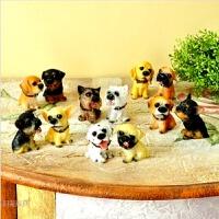 创意客厅小摆件可爱12名犬仿真狗装饰品书桌动物家居送孩子礼物 一套12只