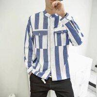竖条纹立领衬衫男长袖韩版青少年修身衬衣潮流日系春季装休闲百搭