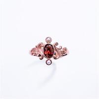 伊丽莎白 925银 石榴石 淡水珍珠 复古戒指