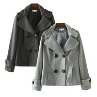 女装冬装新潮 韩国站西装领双排扣毛呢外套女长袖短
