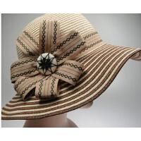 英伦优雅礼帽沙滩韩版超大沿帽太阳帽遮阳帽草帽夏天女帽子