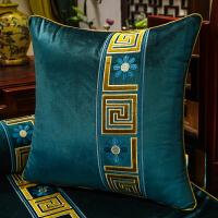 中式抱枕靠背床头靠包现代绒布靠枕腰枕含芯刺绣欧式沙发靠垫 +枕芯