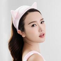 三利 超柔猫耳朵造型束发带 韩版可爱发箍 9×23cm 洗脸化妆包头巾单条装