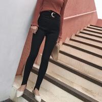 秋冬装新款外穿紧身高腰打底裤圆环不规则长裤黑色裤子小脚裤女裤 黑色