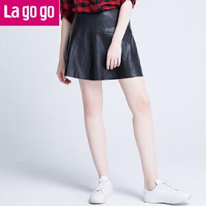 【每满200减100】Lagogo/拉谷谷2016年冬季新款时尚百搭拉链纯色半裙time:4.17~4.23