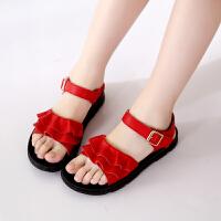 女童鞋子新款儿童牛皮凉鞋软底红色公主鞋女童凉鞋沙滩鞋
