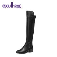 依思q冬季新款圆头舒适粗跟中跟女靴时尚潮流长靴女