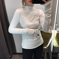 细螺纹加绒半高领打底衫女T恤长袖纯色紧身显瘦内搭秋冬薄款上衣