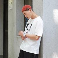 纯棉短袖T恤男夏季新款简约圆领t恤纯色休闲短袖男上衣全棉打底衫