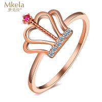 梦克拉 18K金钻石红宝石戒指 王冠 k金钻石刚玉指环