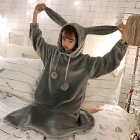 秋冬韩版可爱法兰绒毛球兔耳朵中长款长袖连帽睡衣连衣裙睡裙女士