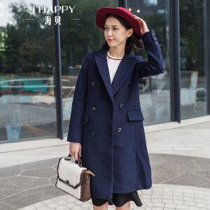 海贝2017冬装新款女装 韩版西装领双排扣长袖中长款毛呢大衣外套