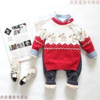 儿童线圣诞麋鹿毛衣宝宝英伦风肩扣套头针织衫打底衫 圣诞红