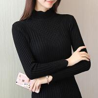 女士加厚秋冬新款毛衣短款套头修身紧身百搭长袖半高领针织打底衫