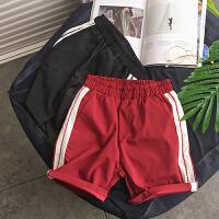 201807010856476112018夏季新款男士休闲短裤跑步运动短裤撞色宽松沙滩裤子五分裤